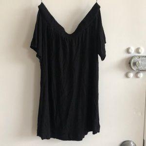 Black Off the shoulder cotton shirt
